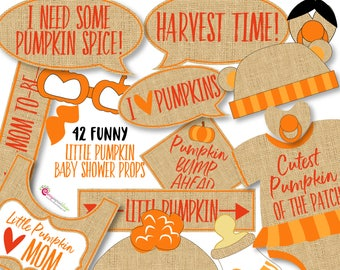 42 Little Pumpkin Baby Shower Photo Booth Props - Burlap Rustic Baby Shower Props - INSTANT DOWNLOAD - DIY Printable (Pdf & High-Res Jpeg)