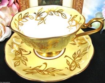 Royal Albert Tea Cup and Saucer Avon-Shape Yellow & Gold Pattern Teacup