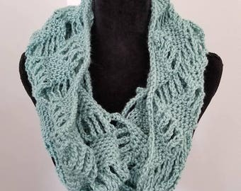 ON SALE Infinity Scarf - Cowl scarf - handmade scarf - crocheted scarf - Circle Scarf - Gift for Her - Seafoam Scarf