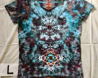 Handmade ice dyed V neck shirt, Women's tie dye T shirt, Large