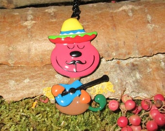 BE03 - Candella large enamel pendant rare multicolored Mexican cat animal