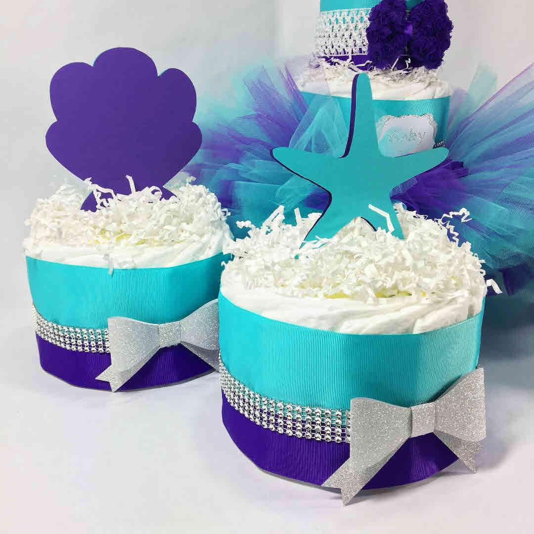Aqua U0026 Purple Under The Sea Tutu Diaper Cake Centerpiece Set, Tutu Cake,  Girl