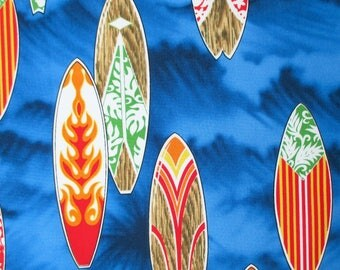 Fabric, Surf Boards on Royal Blue, Surfboard, Beach Water Sports, Surfer, By The Yard