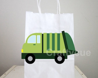 Garbage Truck Goody Bags, Garbage Truck Favor Bags, Garbage Truck Birthday, Garbage Truck Party, Recycling Party Bags