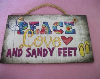 Retro Cute 90s Does PEACE LOVE and SANDY Feet, Multi Colors Small Sign, Printed on
