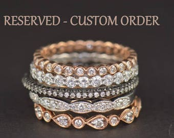 Custom Order for Mary! 9 Stone Cadence M with 2mm Diamonds and Gemstones, 2.2mm Wide, 14k Yellow Gold, Size 7, Christmas Delivery