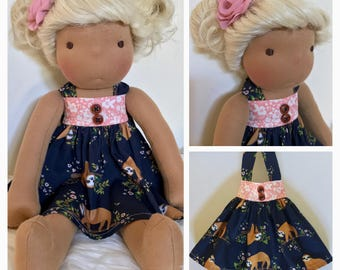 Sale! Waldorf doll dress and hair clip 14-16""