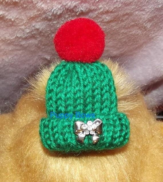 Puppy Bows ~ rhinestone small Christmas cap hat pet hair bow barrette or latex bands GREEN dog beanie