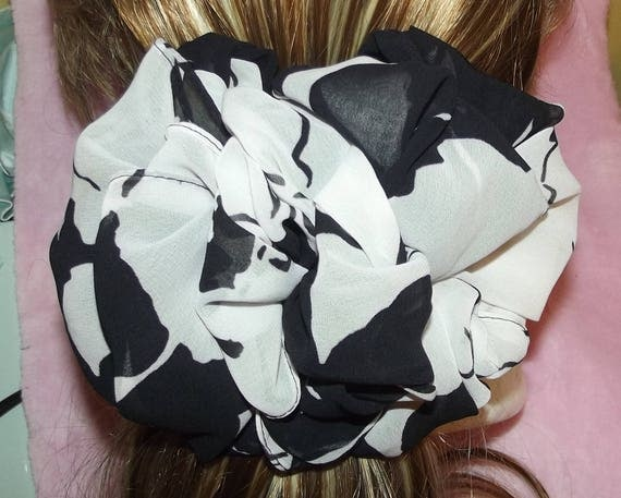 Becky Bows ~OOAK ROSETTE Barrette Hand crafted giant huge Scarf BIG hair bow Women or Girls black white floral
