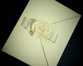 50 wedding invitations in paper lace-effect handmade embossed double-double satin ribbon-customizable