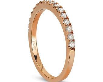 Rose Gold Wedding Ring, Rose Gold Wedding Band, Simple Wedding Ring, Diamond Stacking Ring, 14k Solid Rose Gold Wedding Engagement ring,