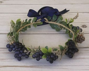Navy Blueberry Flower Crown, Navy Flower Girl Flower Crown, It's a Boy Blur Maternity Flower Crown, Photo Shoot Crown, Blue Boho Flower Girl