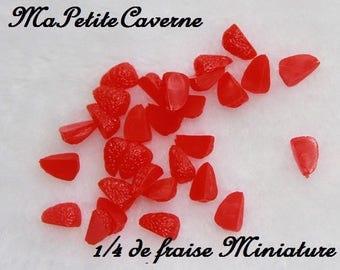 miniature Strawberry slice 1/4 plastic polymer