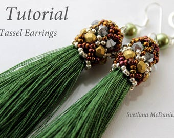 PDF instructions Tassel green Earrings with Swarovski crystals seed beads pearls