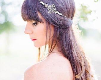 "Headband ""Marianne"" Bohemian bronze and white beads and chain"