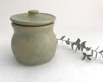 Vintage Celadon Ceramic Jar with Lid