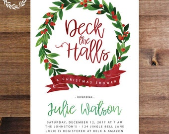 Deck the Halls Christmas Shower Invitation | Red and Green Holiday Invite | Couple's Shower | Bridal Shower | Ornament | Printable | Printed