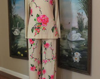 Vintage 1960's Retro Asian Inspired Mr. Dino Tunic & Pant Two Piece