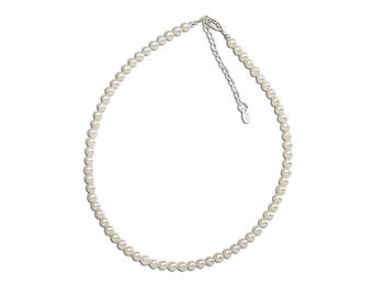 """Girls Sterling Silver Necklace with Soft White Freshwater Pearls from our """"Timeless Collection"""" (TCBN-Catherine)"""