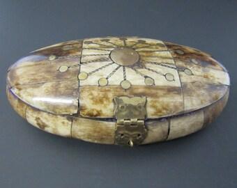 Vintage Bone and Brass Jewelry Box Inlaid