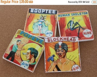 SALE Set of 4 Tumbled Marble Tile Coasters - Vintage Circus Sideshow Acts