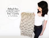 CROCHET PATTERN & TUTORIAL • The Eleanor Blanket • Chunky Texture Throw Blanket / Afghan {Instructions for Different Sizes}