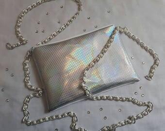 Silver hologram handmade makeup bag