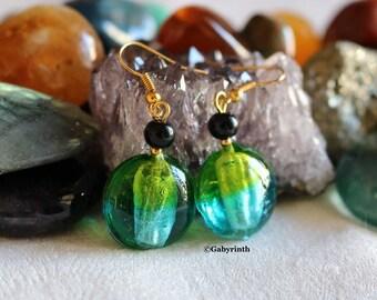 Candy blue Aqua green lemon Agate black Lampwork Glass earrings