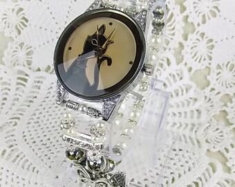 Wrist watch quartz watch bracelet ladies watch beads glass beads cat