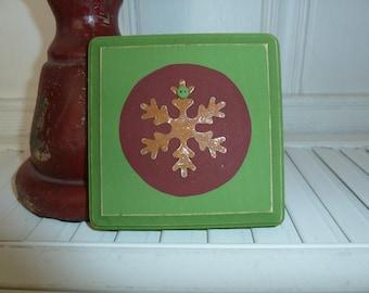 Handmade primitive wooden distressed sign - Snowflake
