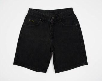 Size 30 Denim Shorts - Vintage Black Denim Shorts 30 Waist - High Waisted Black Denim Shorts - Hemmed Lee Shorts - Black Shorts - w30 - 30w