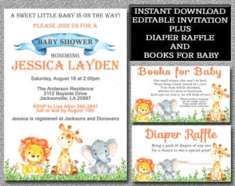 Jungle Safari Baby Shower Invitation Set, Editable Invitation, Books for Baby & Diaper Raffle cards, You edit, instant download 001-A