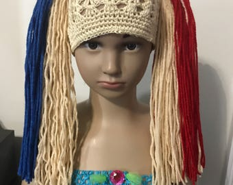 Harley Quinn inspired wig hat