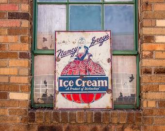 Nancy Grey's Ice Cream Sign Vintage Tin Advertising Sign