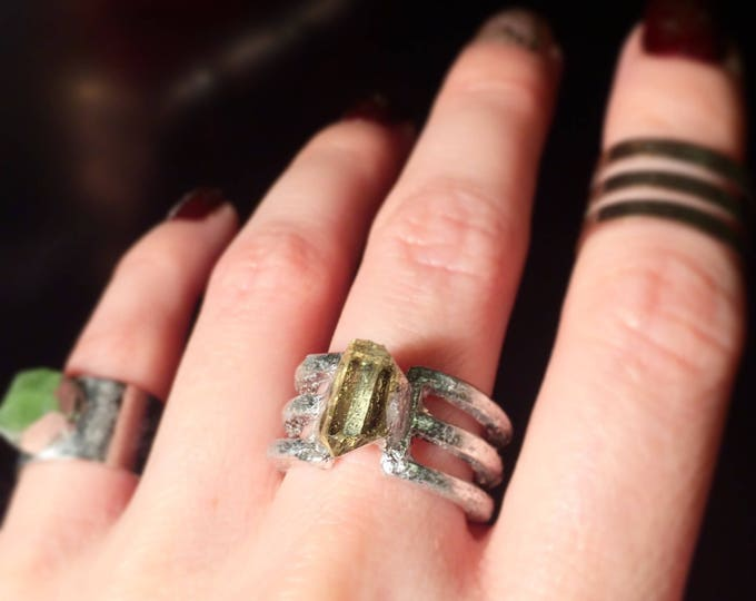 Raw Golden Apatite Silver Ring, Size 5.25