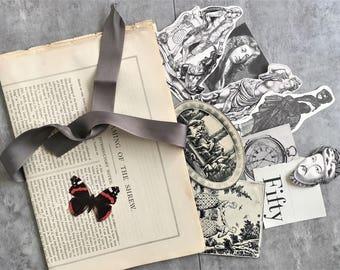 Junk Journal Kit - Junk Journal Ephemera - Scrapbook Album Embellishment - Smash Book Vintage Ephemera Pack - Antique Engravings Theme