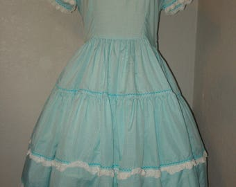 Vintage Gingham Square Dance Dress & Petticoat Slip Size 12 Swing, Rockabilly Barn Dance or Storybook Character Costume