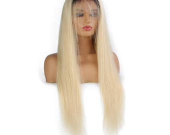 Custom Units - Platinum Blonde 100% Virgin Human Hair Lace Frontal/Full Lace Wig w/ Realistic Lace
