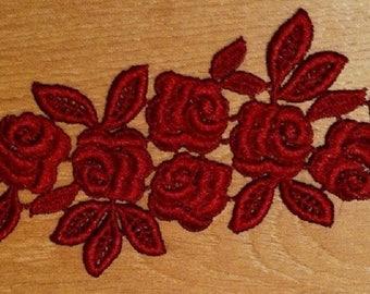 1 28 cm X 8 cm pink Burgundy Venice guipure lace applique