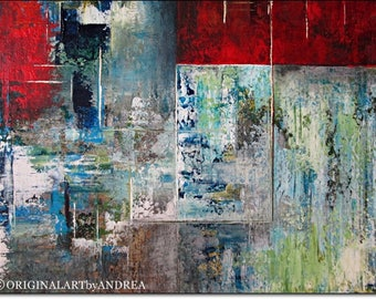 Large Abstract Canvas Art Print Giclee CONTEMPORARY WALL ART Abstract Landscape Home Decor Red Turquoise Acrylic Paintings Canvas Art Prints