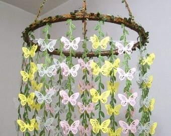 Butterfly Mobile,Baby Mobile Hanging,Girl,Boy,Woodland,Nursery Crib Mobile,Wedding Chandelier,Bridal Baby Shower decor,Gift,Pink,Yellow,Gray