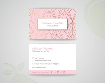 Baby Pink Geometric Business Card