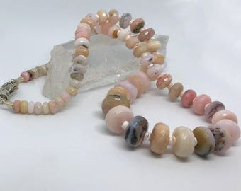 Pretty in Pink, Peruvian opal and pink shell heishi necklace