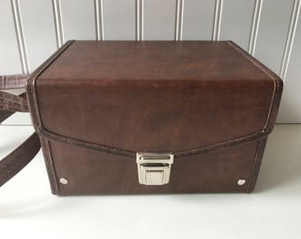 Vintage Polaroid Case, Polaroid Pronto Camera Bag, Brown Vinyl Comparment Carrying Case, Style 1912, Holds Polaroid SX-70 One Step, 1979