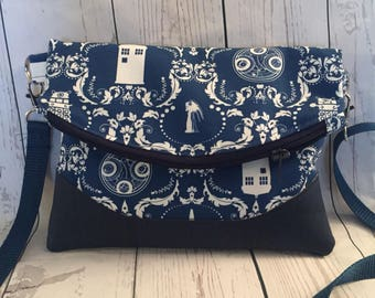 Dr Who- Brocade- Tardis-weeping Angel-galifreyean-Fandom -Cork -Zippered Bag -Cross body Bag