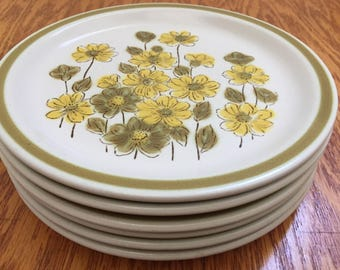 Vintage Spring Bouquet Stoneware ~ Hand Decorated Plates