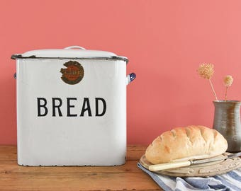 Vintage White and Black Enamel Bread Bin