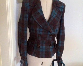 Vintage Tartan Jacket, Riding Jacket, Fitted Jacket, Steampunk, Victorian Riding Jacket