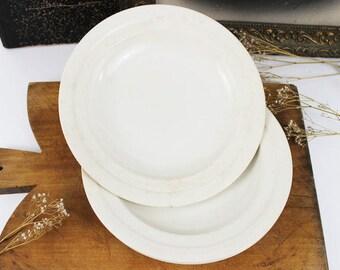 Antique White Ironstone Plate, Vintage Ironstone Plates, White Plate Ironstone Dinner Plates, French Ironstone Plates, Ironstone Dinnerware