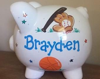 Personalized Boys Sports Piggy Bank